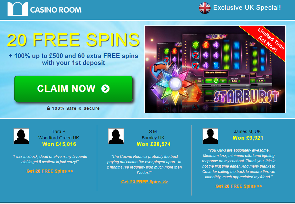 casinoroom exklusive uk freespins offer